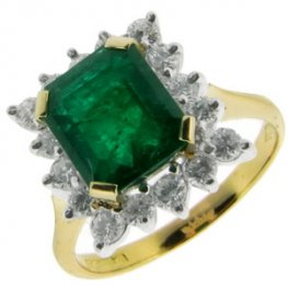 Emerald Cluster Ring set with diamonds