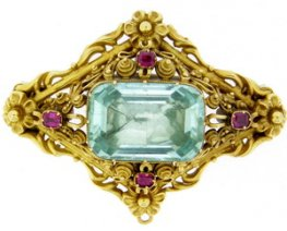 Mid 19th Century Aquamarine and Diamond Brooch/Pendant