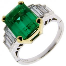 Octagon Emerald and Diamond Ring