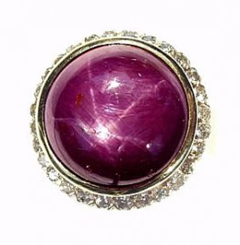 Purple Star Sapphire and Diamond cluster ring