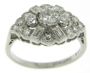 Art Deco Platinum Diamond Ring Circa 1929