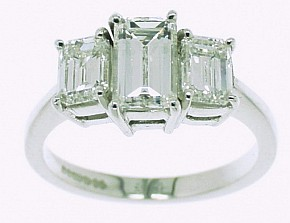 Emerald Cut Diamond Three Stone Ring. 2.05cts in total