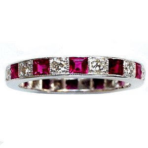 Vintage Ruby and Diamond Full Eternity Ring, Dias 0.60cts approx