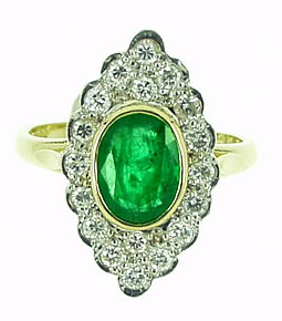 Emerald & Diamond Navette Cluster Ring