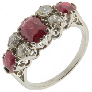 Garnet and old cut diamond ring
