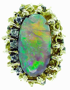 1970's jewel. A Black Opal and Diamond Ring by Peter Minturn