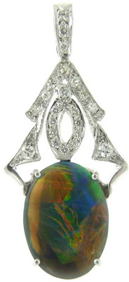 An Art Deco Diamond and Black Opal Pendant