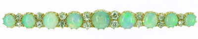 Antique Victorian Opal and Diamond Bar Brooch