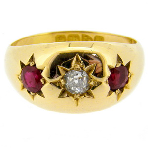 Gypsy Ruby and Old Cut Diamond three stone ring - Click Image to Close