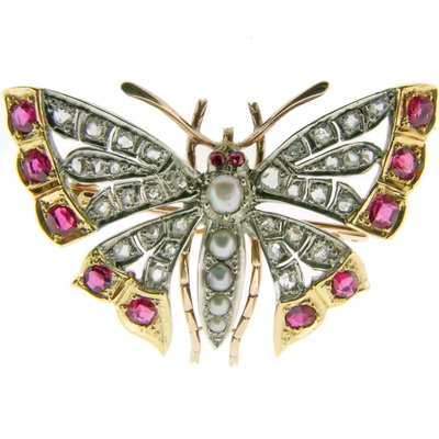 Butterfly Brooch & Pendant with Diamonds & Gemstones