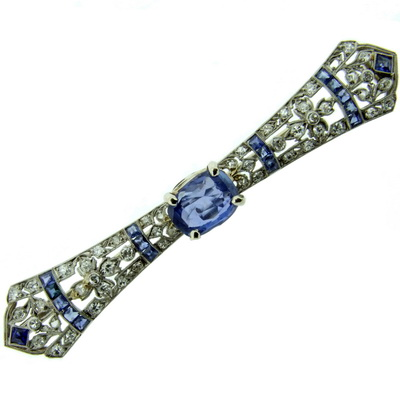 Art Deco diamond and Sapphire Brooch - Pin - Click Image to Close