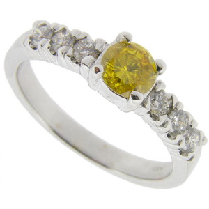 Fancy Vivid Yellow Solitaire Diamond Ring - Click Image to Close