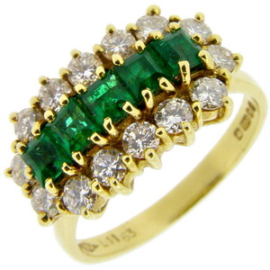 Square Emerald and Diamond Fancy Cluster Ring 18ct Gold