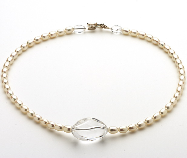 Clear Quartz and Fresh Water Pearl Necklace